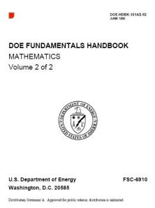 COVER - DOE FUNDAMENTALS HANDBOOK MATHEMATICS 1