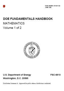 COVER - DOE FUNDAMENTALS HANDBOOK MATHEMATICS 2